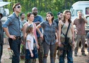 The Governor (David Morrissey), Meghan Chambler (Meyrick Murphy), Lilly Chambler (Audrey Marie Anderson), Tara Chambler (Allana Masterson) and Alisha (Juliana Harkavay) in Episode 7 (Photo by Gene Page/AMC)