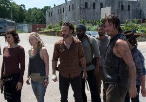 Maggie Greene (Lauren Cohan), Beth Greene (Emily Kinney), Rick Grimes (Andrew Lincoln), Tyreese (Chad L. Coleman), Daryl Dixon (Norman Reedus) and Carl Grimes (Chandler Riggs) in Episode 8  Photo by Gene Page/AMC