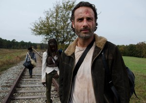 Carl Grimes (Chandler Riggs), Michonne (Danai Gurira) and Rick Grimes (Andrew Lincoln) - The Walking Dead _ Season 4, Episode 15 - Photo Credit: Gene Page/AMC