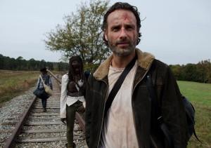 Carl Grimes (Chandler Riggs), Michonne (Danai Gurira) and Rick Grimes (Andrew Lincoln) - The Walking Dead _ Season 4, Episode 15 - Photo Credit: Gene Page/AMC