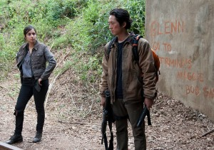 Tara (Alana Masterson) and Glenn (Steven Yeun) - The Walking Dead _ Season 4, Episode 15 - Photo Credit: Gene Page/AMC