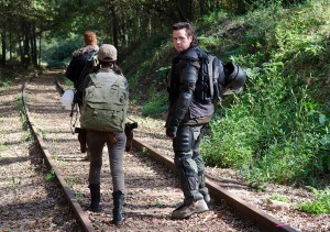 Rosita Espinosa (Christian Serratos), Dr. Eugene Porter (Josh McDermitt) and Abraham (Michael Cudlitz) - The Walking Dead _ Season 4, Episode 15 - Photo Credit: Gene Page/AMC