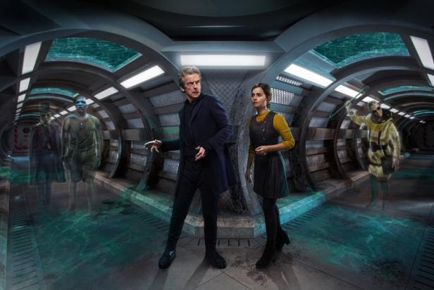 Picture shows: Paul Kaye as Prentis, Colin McFarlane as Moran, Peter Capaldi as the Doctor, Jenna Coleman as Clara and Steven Robertson as Pritchard